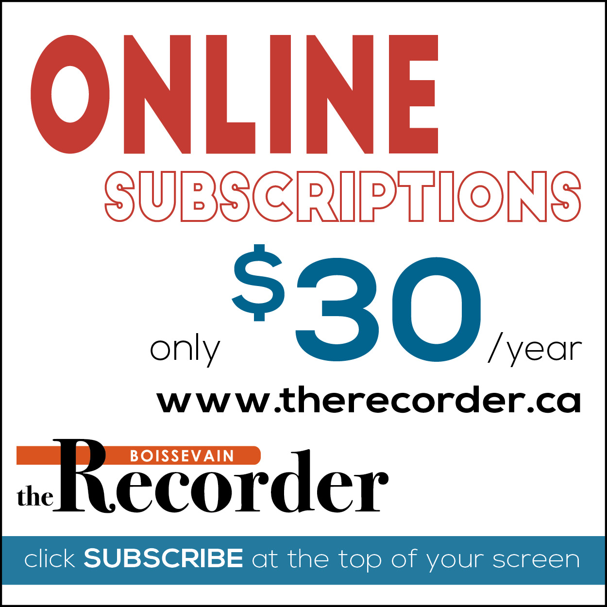 Recorder online subscriptions