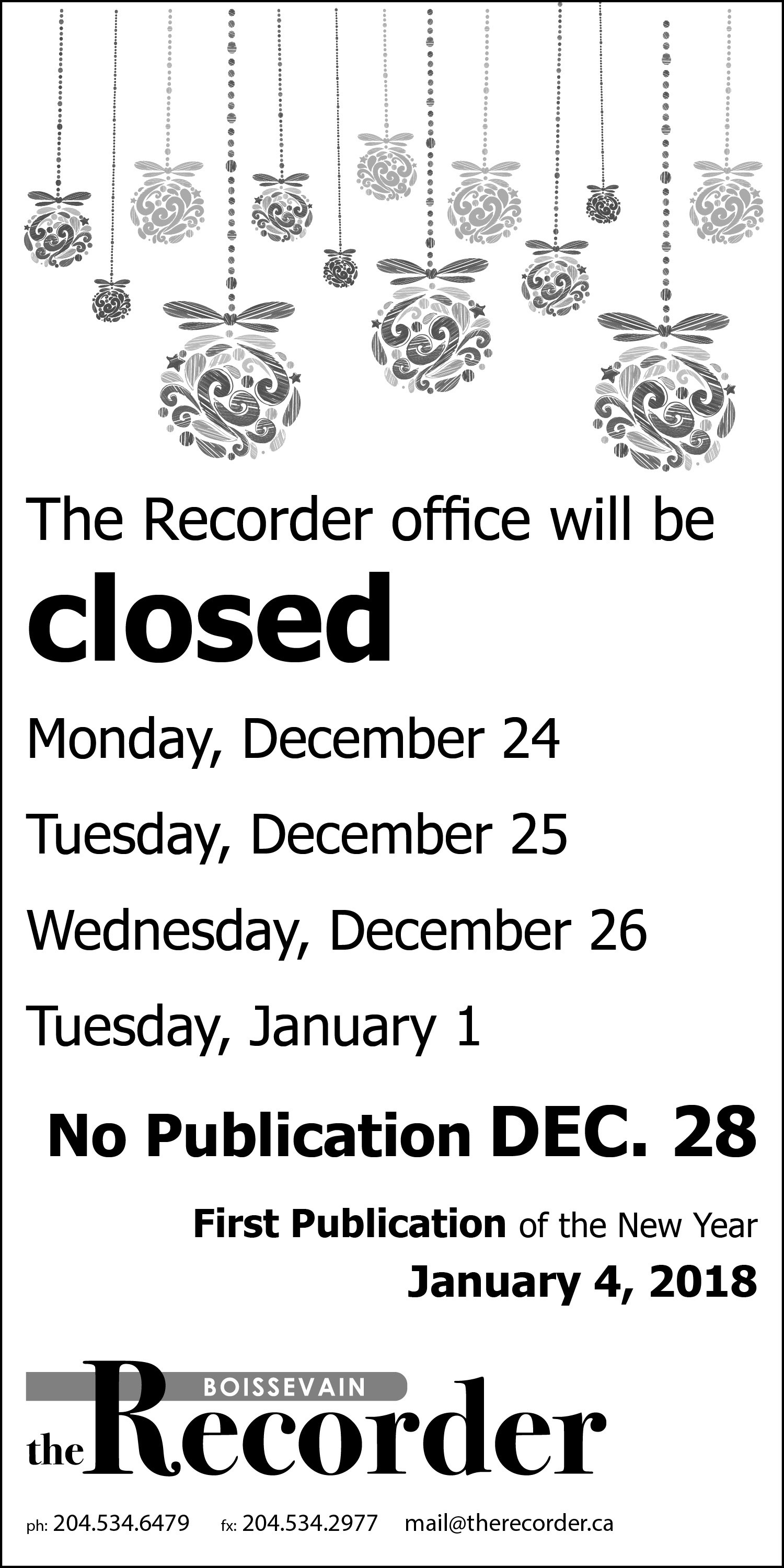 Recorder xmas holiday hours