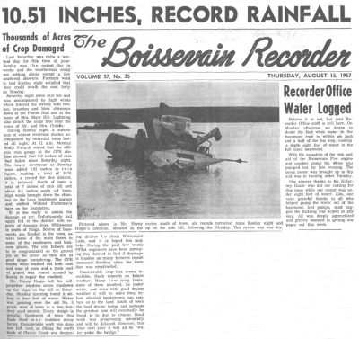 60 years ago, August 1957, torrential downpour, havoc to crops, roads and homes