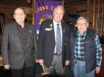 Three original charter members of the Boissevain Lions Club attended the 60th anniversary celebration in February, held at the Home Hotel in Boissevain. (l-r) Bruce Orriss, Lion Del Pringle and Gerry May. Pringle is still an active Lion member, belonging to the Brandon Lions Club.